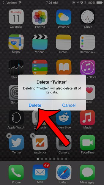 Tag-and-wiggle to delete twitter on iphone