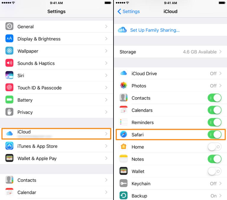 iCloud Safari Settings