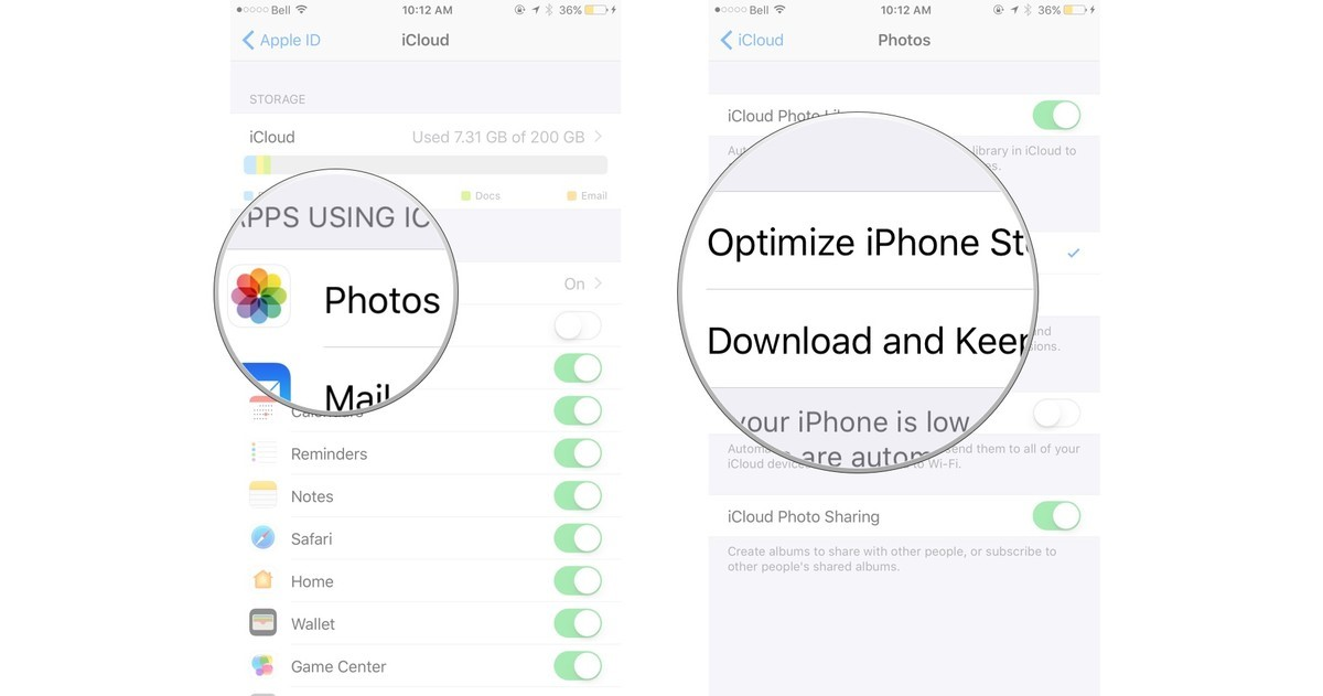 iCloud photo library on iphone
