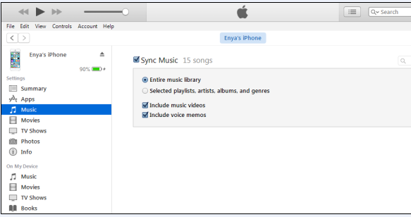 sync music library