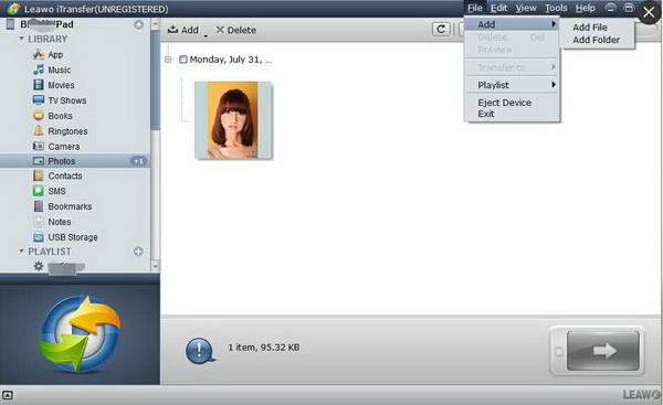 Add photos to transfer