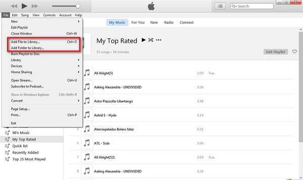 add folder to iTunes library