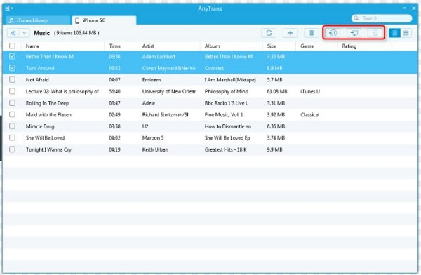 select songs in AnyTrans