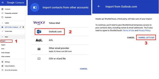 import Hotmail contacts to Google contacts