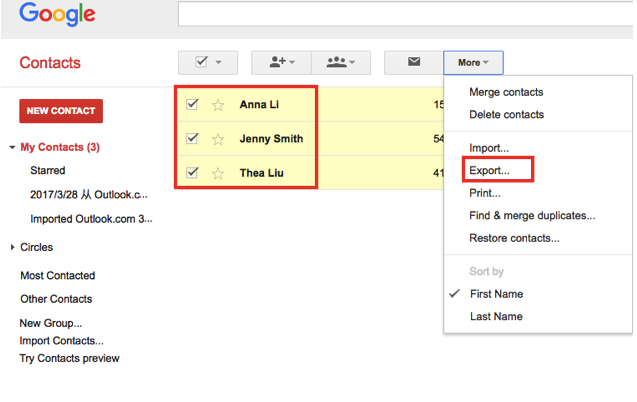 Select contacts to export