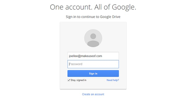 log in with your Google Drive