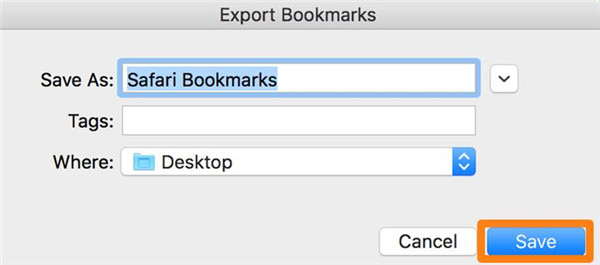 save the exported Safari bookmarks on desktop