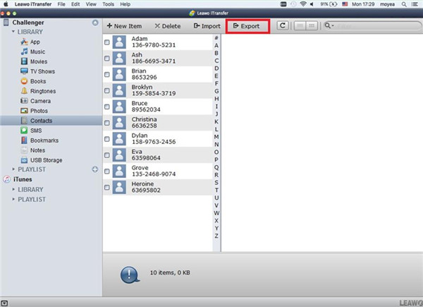 Choose Contacts and Export to vCard