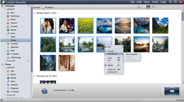 Choose Pictures and Transfer to PC