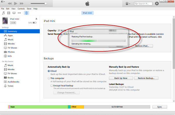 restore iTunes information into ipad