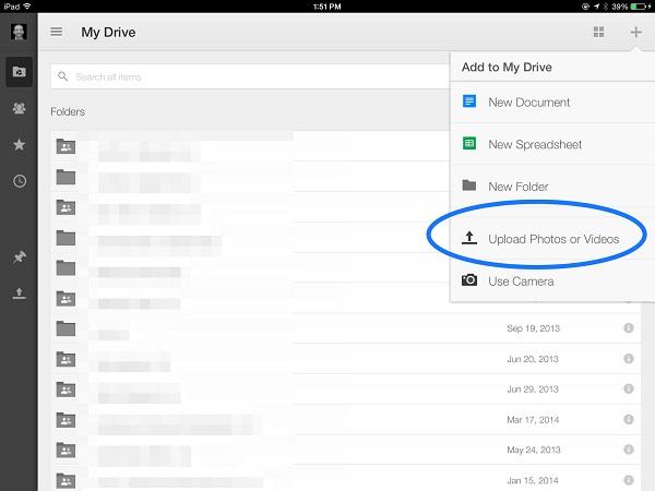 transfer iPad photos to Google Drive
