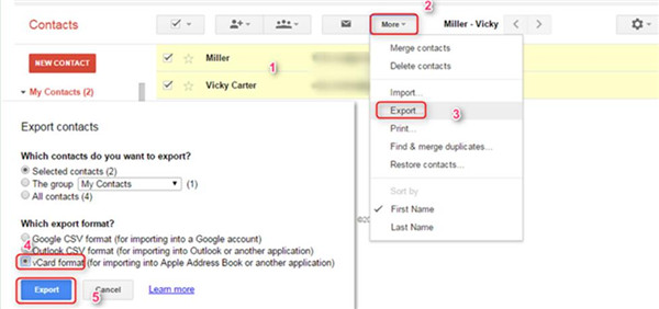 export the Gmail contacts to your computer