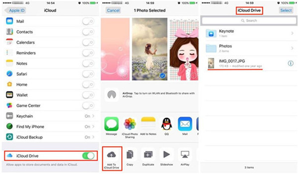 Add file to iCloud Drive on iPhone