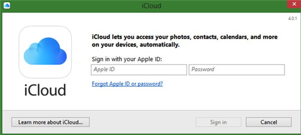 open iCloud for Windows on PC