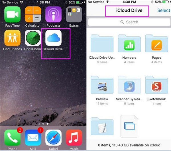 open the iCloud Drive app on the home screen of your iPhone
