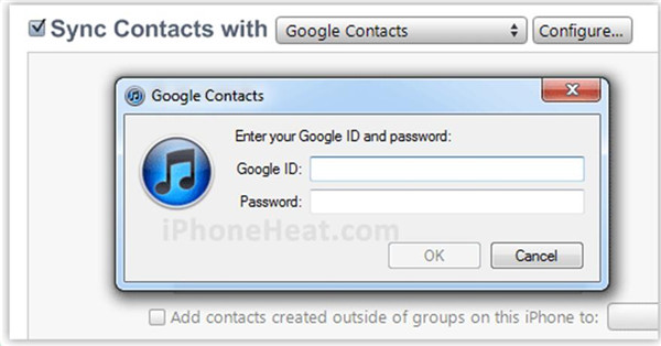 sync Contacts from iPhone to Gmail in iTunes