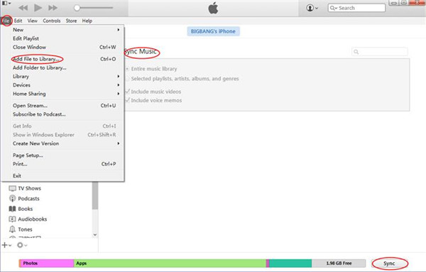 Transfer Music from HTC to iPhone with iTunes