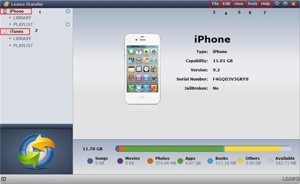Launch iTransfer and Plug iPhone into PC