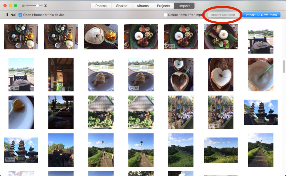 Select photos you want to import