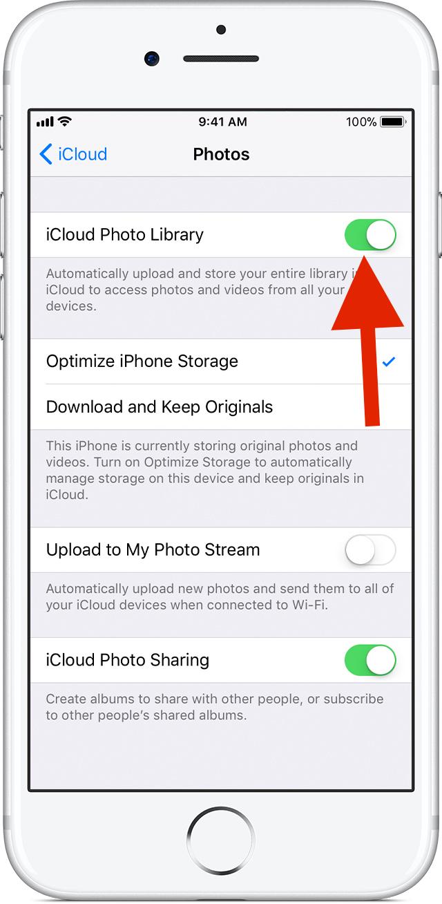 turn on iCloud Photo Library
