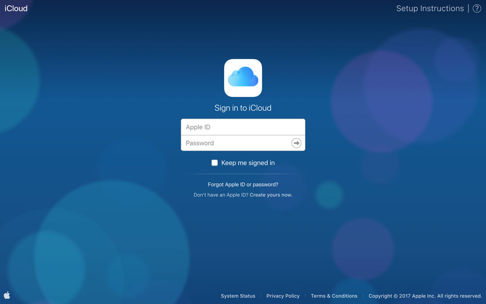 Log in to iCloud