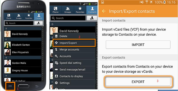Export Android Contacts to USB Storage