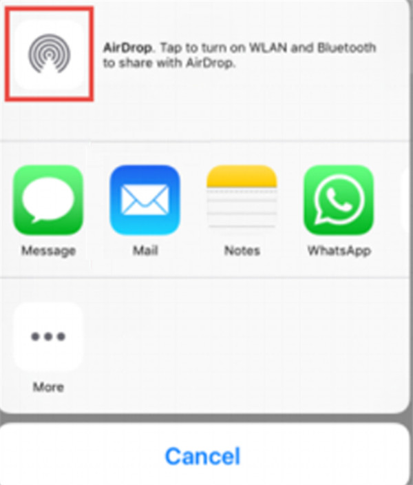 click on the option of Airdrop