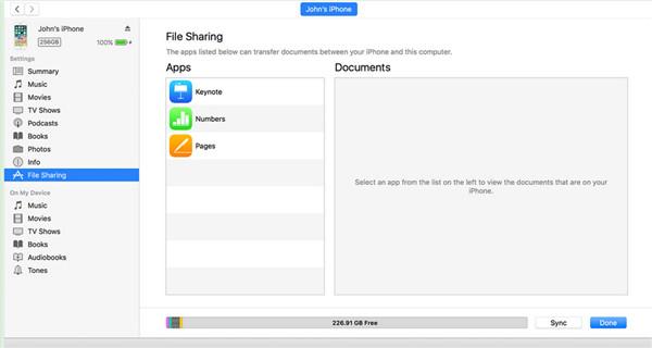 invoke the File Sharing area