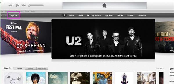 Sign in iTunes