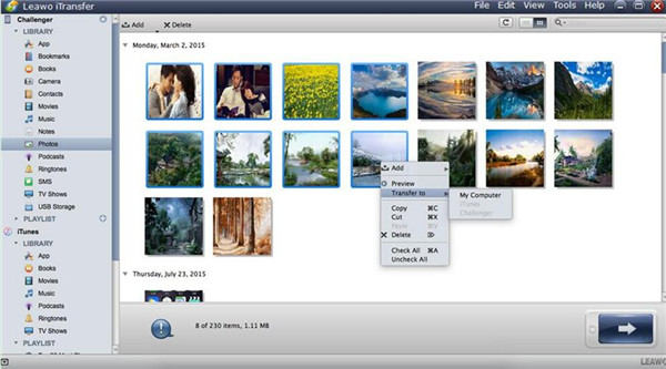 Select Photos to Export to Computer