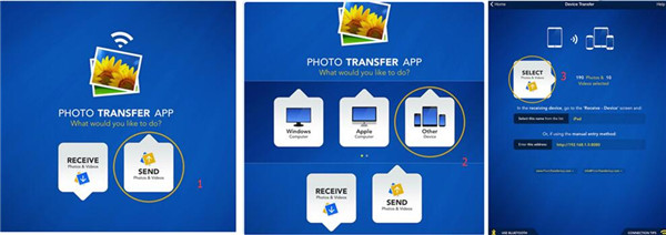 open the Photo Transfer app to select the photos you want to transfer