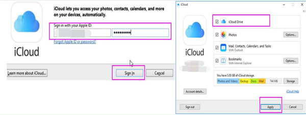 log into iCloud for Windows