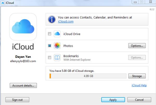 Transfer photos to iCloud