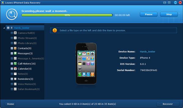 Run Leawo iOS Data Recovery and Scan iPhone with DFU Mode