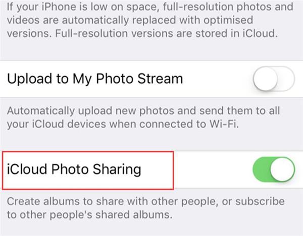 select iCloud Photo Sharing