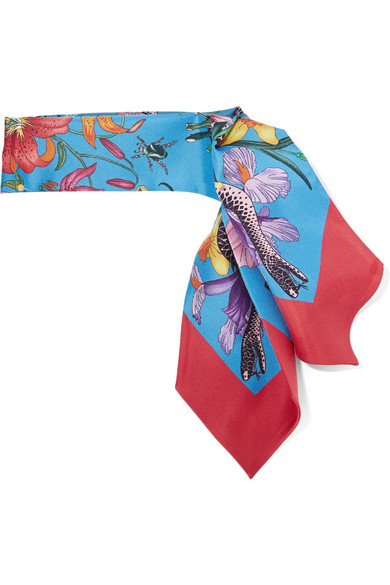 Gucci Flora Snake printed silk-twill scarf