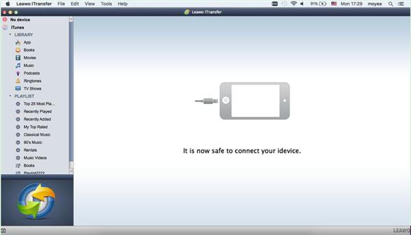 Run Leawo iTransfer and Plug iPhone into Mac Computer
