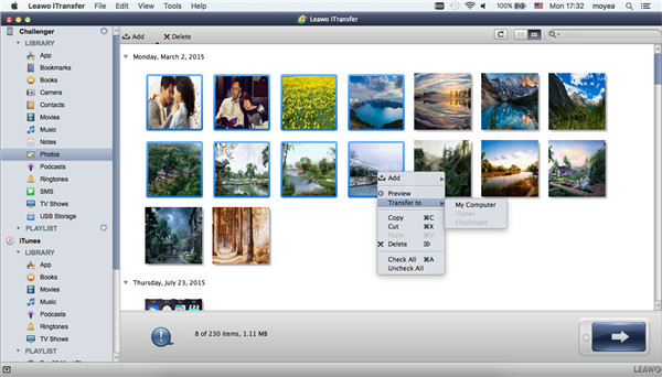 choose the pictures you want to transfer