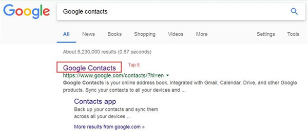 Google Google contacts and tap it