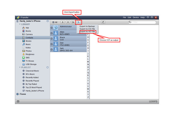 Click the Export button and Choose Output Path