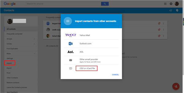Log into Google Account and Import Contacts from Computer to Gmail