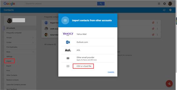 contacts backup google