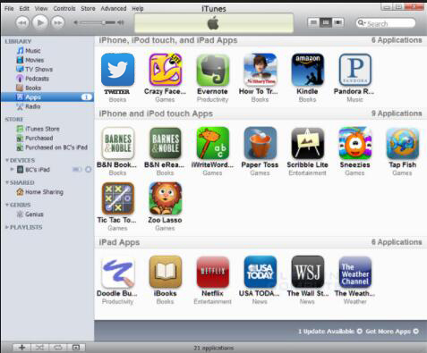 apps installed in the iTunes library