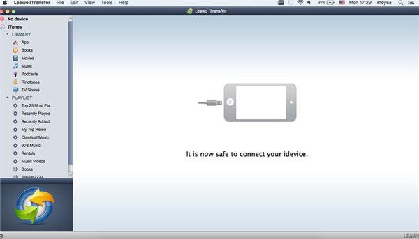 Lauch Leawo iTransfer and Connect iPhone to Mac Computer