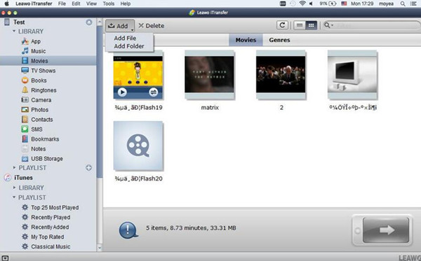 Click Movies Tab and Add File