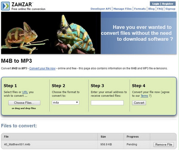 begin to convert the audiobook to MP3 for free
