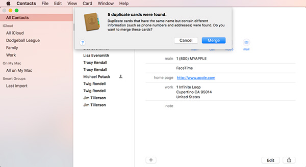 choose Merge to delete duplicate contacts iCloud