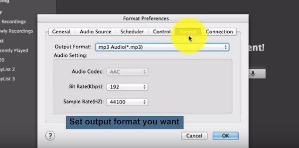 Select output format of your recordings