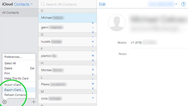 get LG contacts on iCloud