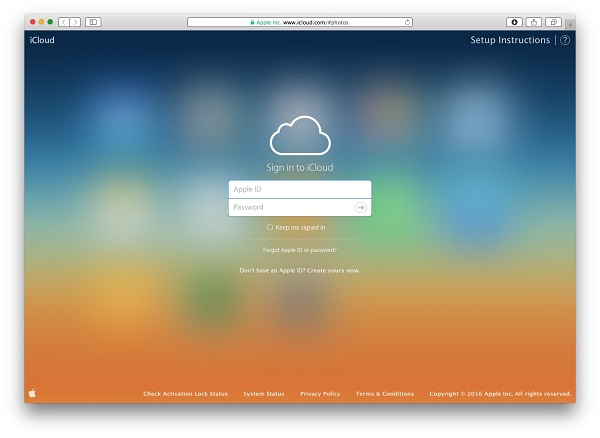 Log in iCloud official website on Mac